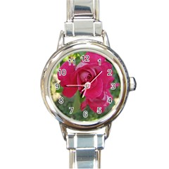 Romantic Red Rose Photography Round Italian Charm Watch by yoursparklingshop