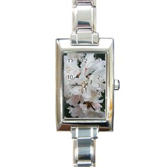 Floral Design White Flowers Photography Rectangle Italian Charm Watch by yoursparklingshop