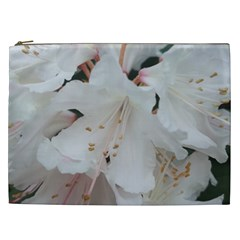 Floral Design White Flowers Photography Cosmetic Bag (xxl)  by yoursparklingshop