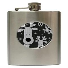Cute Reindeer  Hip Flask (6 Oz) by Valentinaart