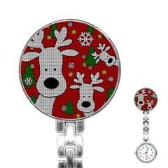 Cute Reindeer  Stainless Steel Nurses Watch by Valentinaart
