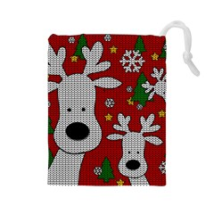 Cute Reindeer  Drawstring Pouches (large)  by Valentinaart