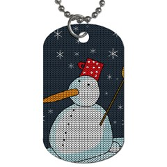 Snowman Dog Tag (two Sides) by Valentinaart