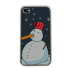 Snowman Apple Iphone 4 Case (clear) by Valentinaart