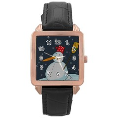 Snowman Rose Gold Leather Watch  by Valentinaart
