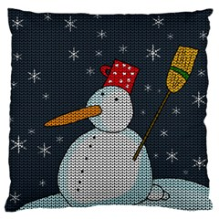 Snowman Large Flano Cushion Case (two Sides) by Valentinaart