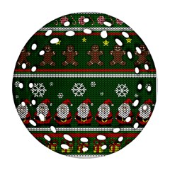 Ugly Christmas Sweater Round Filigree Ornament (two Sides) by Valentinaart