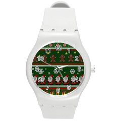 Ugly Christmas Sweater Round Plastic Sport Watch (m) by Valentinaart