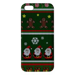Ugly Christmas Sweater Apple Iphone 5 Premium Hardshell Case by Valentinaart