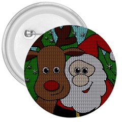 Santa And Rudolph Selfie  3  Buttons by Valentinaart