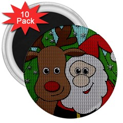 Santa And Rudolph Selfie  3  Magnets (10 Pack)  by Valentinaart