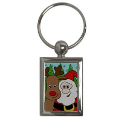 Santa And Rudolph Selfie  Key Chains (rectangle)  by Valentinaart