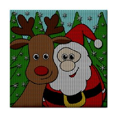 Santa And Rudolph Selfie  Face Towel by Valentinaart