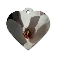 Magnolia Floral Flower Pink White Dog Tag Heart (one Side) by yoursparklingshop
