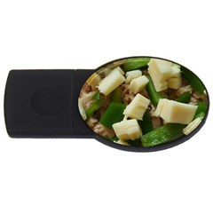 Cheese And Peppers Green Yellow Funny Design Usb Flash Drive Oval (2 Gb) by yoursparklingshop
