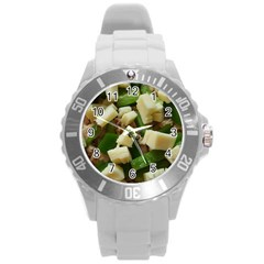 Cheese And Peppers Green Yellow Funny Design Round Plastic Sport Watch (l) by yoursparklingshop