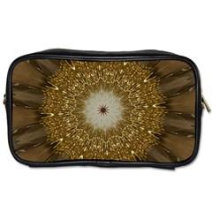 Elegant Festive Golden Brown Kaleidoscope Flower Design Toiletries Bags 2 Side by yoursparklingshop