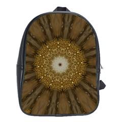 Elegant Festive Golden Brown Kaleidoscope Flower Design School Bag (xl) by yoursparklingshop