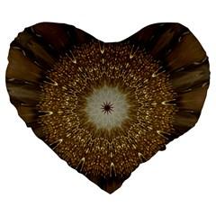 Elegant Festive Golden Brown Kaleidoscope Flower Design Large 19  Premium Flano Heart Shape Cushions by yoursparklingshop
