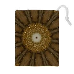 Elegant Festive Golden Brown Kaleidoscope Flower Design Drawstring Pouches (extra Large) by yoursparklingshop