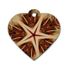 Spaghetti Italian Pasta Kaleidoscope Funny Food Star Design Dog Tag Heart (one Side) by yoursparklingshop