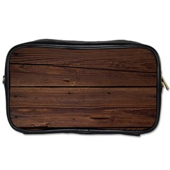 Rustic Dark Brown Wood Wooden Fence Background Elegant Toiletries Bags 2 Side by yoursparklingshop