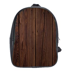 Rustic Dark Brown Wood Wooden Fence Background Elegant Natural Country Style School Bag (large) by yoursparklingshop
