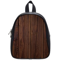 Rustic Dark Brown Wood Wooden Fence Background Elegant Natural Country Style School Bag (small) by yoursparklingshop