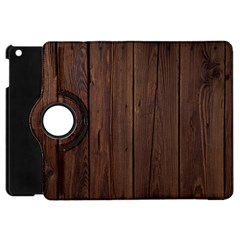 Rustic Dark Brown Wood Wooden Fence Background Elegant Natural Country Style Apple Ipad Mini Flip 360 Case by yoursparklingshop