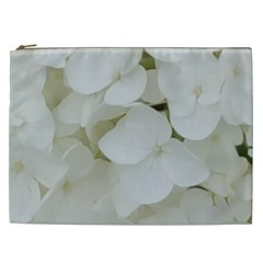 Hydrangea Flowers Blossom White Floral Elegant Bridal Chic Cosmetic Bag (xxl)  by yoursparklingshop