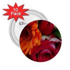 Floral Photography Orange Red Rose Daisy Elegant Flowers Bouquet 2 25  Buttons (10 Pack)  by yoursparklingshop