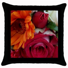 Floral Photography Orange Red Rose Daisy Elegant Flowers Bouquet Throw Pillow Case (black) by yoursparklingshop