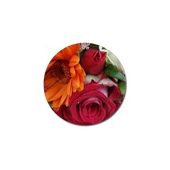 Floral Photography Orange Red Rose Daisy Elegant Flowers Bouquet Golf Ball Marker by yoursparklingshop