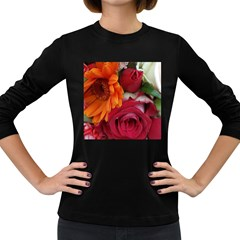Floral Photography Orange Red Rose Daisy Elegant Flowers Bouquet Women s Long Sleeve Dark T Shirts by yoursparklingshop