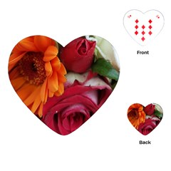 Floral Photography Orange Red Rose Daisy Elegant Flowers Bouquet Playing Cards (heart)  by yoursparklingshop