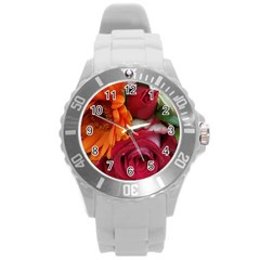 Floral Photography Orange Red Rose Daisy Elegant Flowers Bouquet Round Plastic Sport Watch (l) by yoursparklingshop