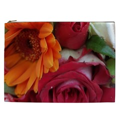 Floral Photography Orange Red Rose Daisy Elegant Flowers Bouquet Cosmetic Bag (xxl)  by yoursparklingshop