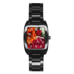 Floral Photography Orange Red Rose Daisy Elegant Flowers Bouquet Stainless Steel Barrel Watch by yoursparklingshop