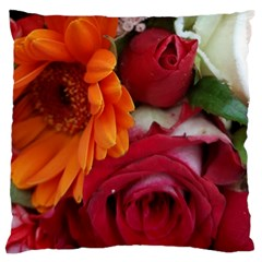 Floral Photography Orange Red Rose Daisy Elegant Flowers Bouquet Large Flano Cushion Case (one Side) by yoursparklingshop
