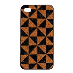 Triangle1 Black Marble & Teal Leather Apple Iphone 4/4s Seamless Case (black) by trendistuff