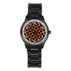 Triangle1 Black Marble & Teal Leather Stainless Steel Round Watch by trendistuff