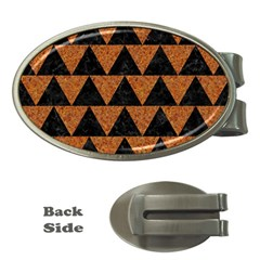 Triangle2 Black Marble & Teal Leather Money Clips (oval)  by trendistuff