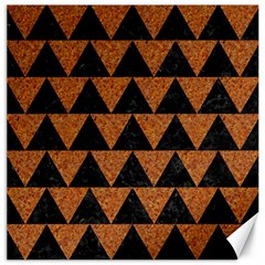 Triangle2 Black Marble & Teal Leather Canvas 12  X 12   by trendistuff