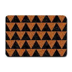 Triangle2 Black Marble & Teal Leather Small Doormat  by trendistuff