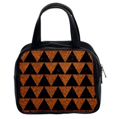Triangle2 Black Marble & Teal Leather Classic Handbags (2 Sides) by trendistuff
