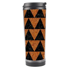 Triangle2 Black Marble & Teal Leather Travel Tumbler by trendistuff