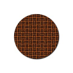 Woven1 Black Marble & Teal Leather Rubber Round Coaster (4 Pack)  by trendistuff