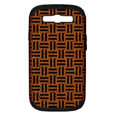 Woven1 Black Marble & Teal Leather Samsung Galaxy S Iii Hardshell Case (pc+silicone) by trendistuff