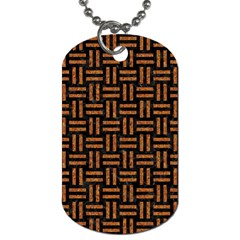 Woven1 Black Marble & Teal Leather (r) Dog Tag (one Side) by trendistuff