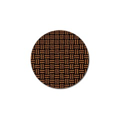 Woven1 Black Marble & Teal Leather (r)	 Golf Ball Marker by trendistuff